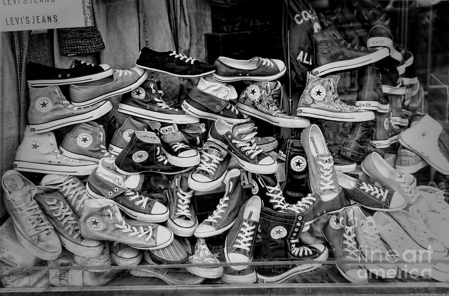 Active Photograph - Converse Running Shoes by Helen  Bobis