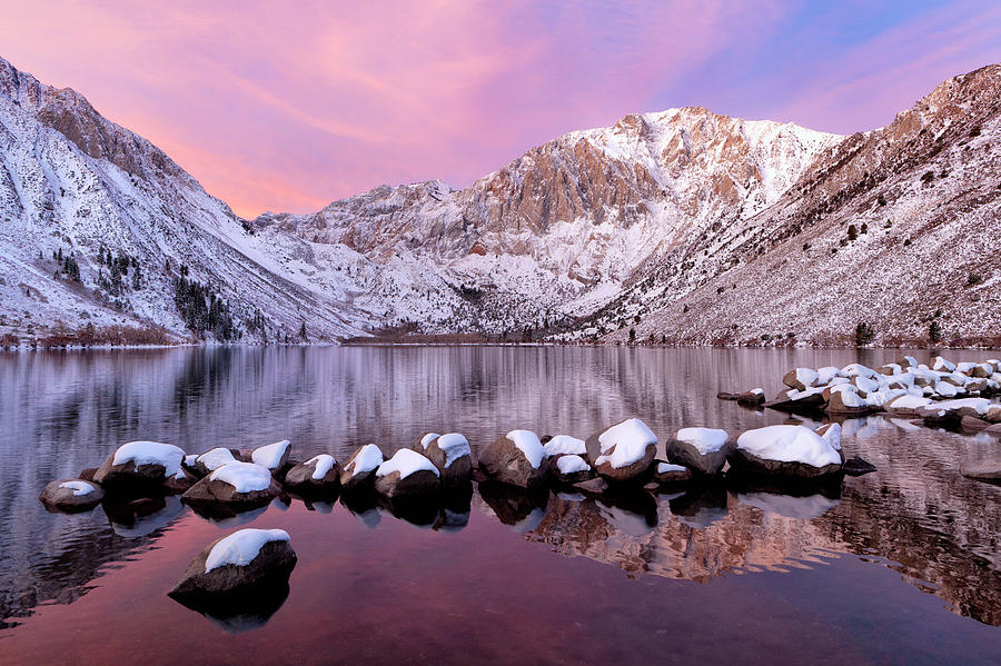 Horizontal Photograph - Convict Lake Sunrise With Fresh Snow by Justin Reznick Photography