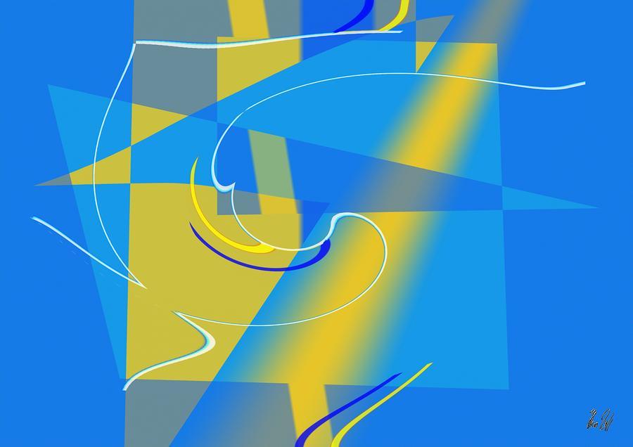 Cool Digital Art - Coolbluelines by Helmut Rottler