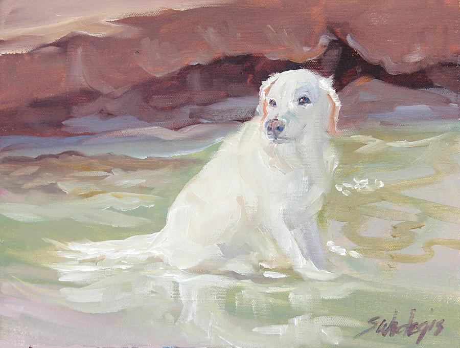 White Labrador Painting - Cooling Off by Sheila Wedegis
