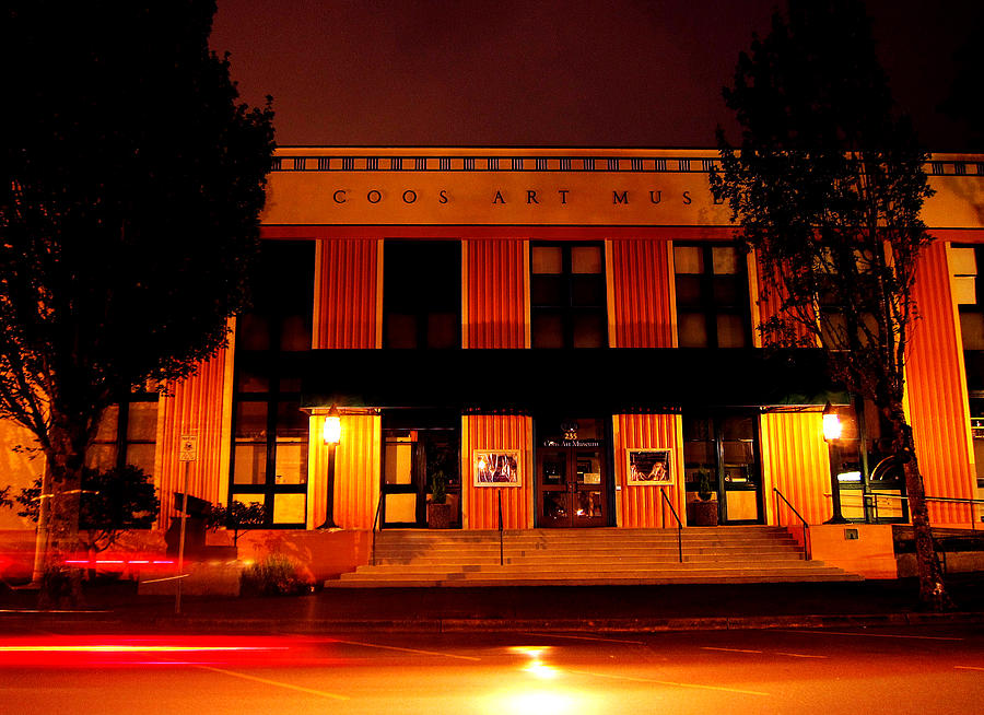 Coos Art Museum Photograph - Coos Art Museum At Night In Coos Bay by Gary Rifkin