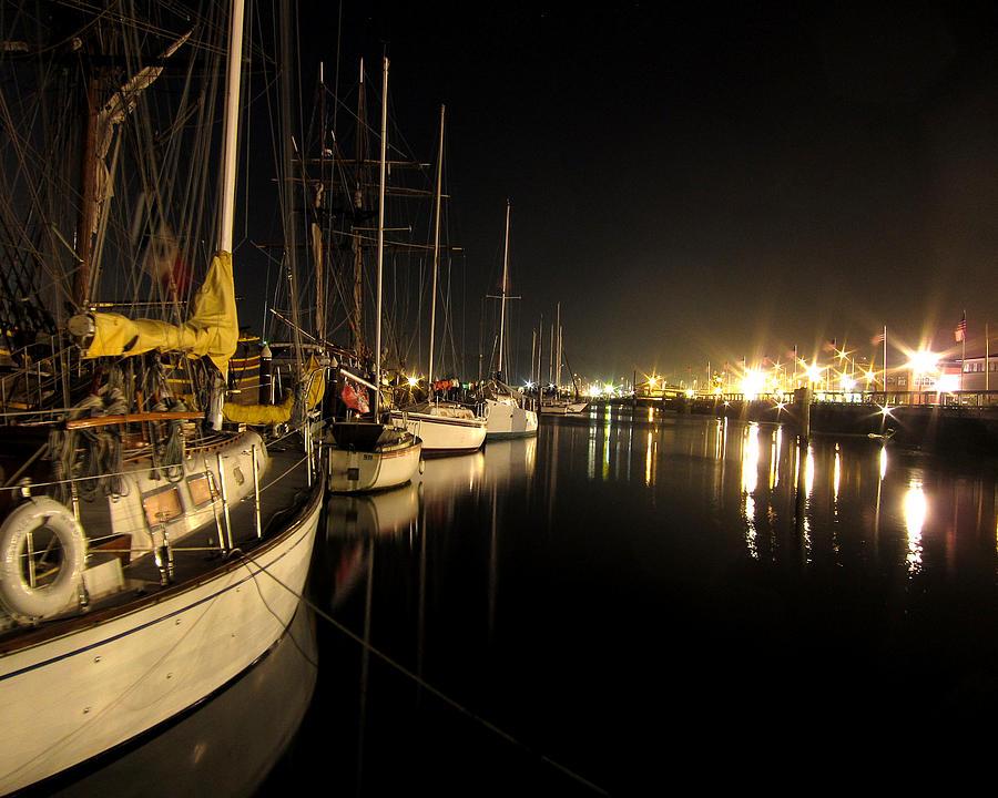 Coos Bay Photograph - Coos Bay Sailboats At Night by Gary Rifkin