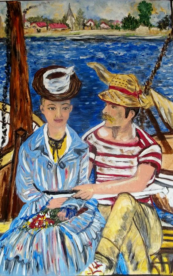 Boats Painting - Copy Of Manet by Iris Devadason