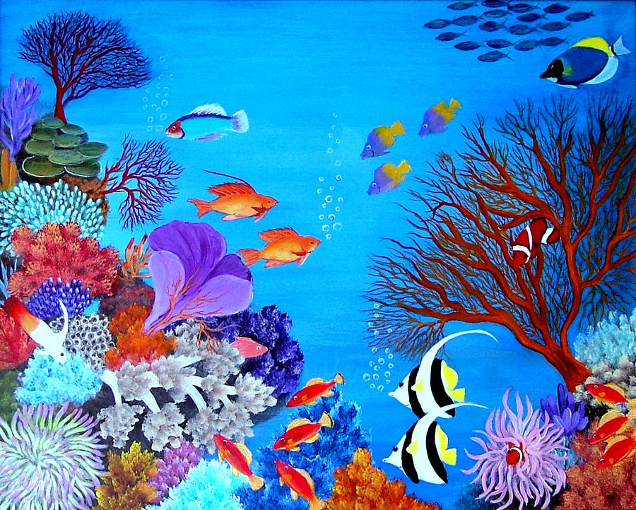 Coral Garden Painting by Fram Cama