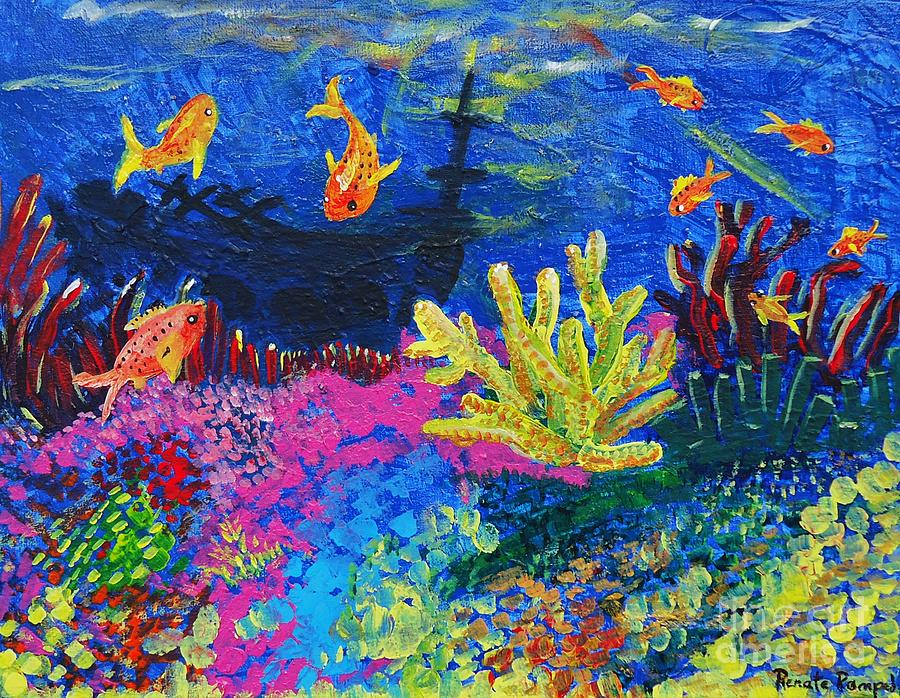 Coral Garden Painting By Renate Pampel