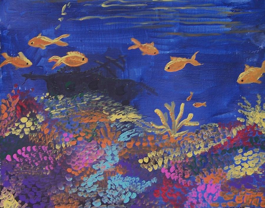 Bright Colors Painting - Coral Reef Garden by Renate Pampel