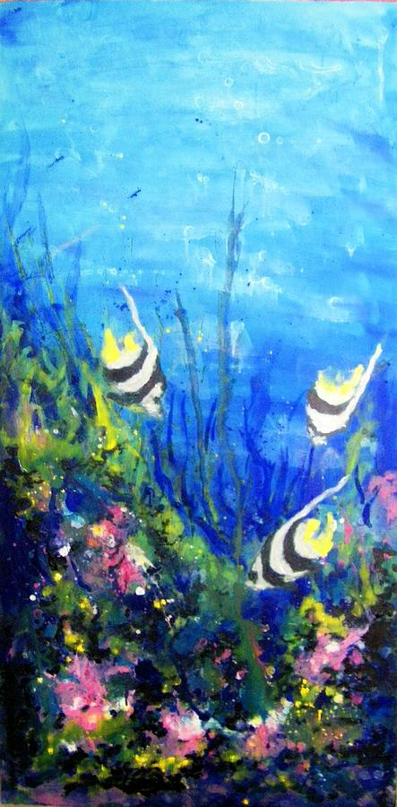 Coral Reef With Tropical Fish 3 Painting by Zdenka Better