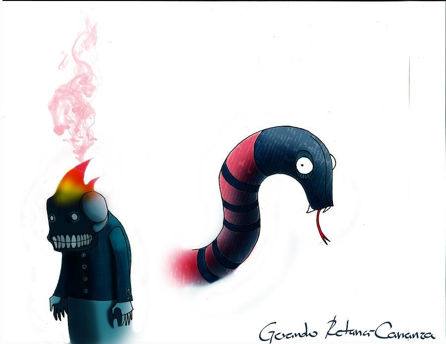 Skull Painting - Coralillo Snake And Little Skull-demon by Gerardo Retana