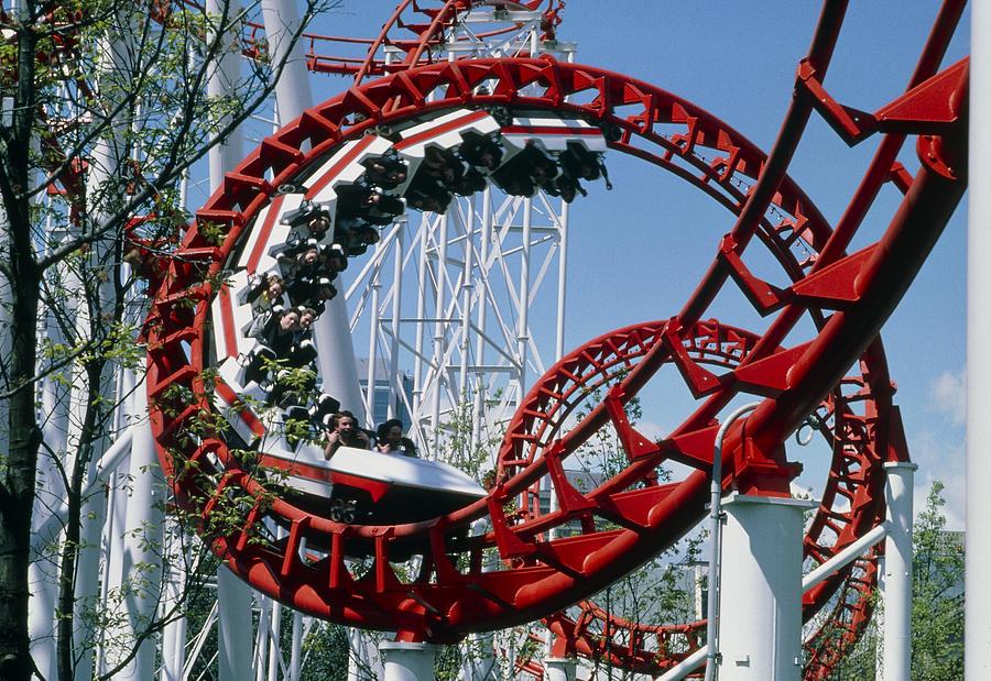 Rollercoaster Photograph - Corkscrew Coil On A Rollercoaster Ride by Kaj R. Svensson