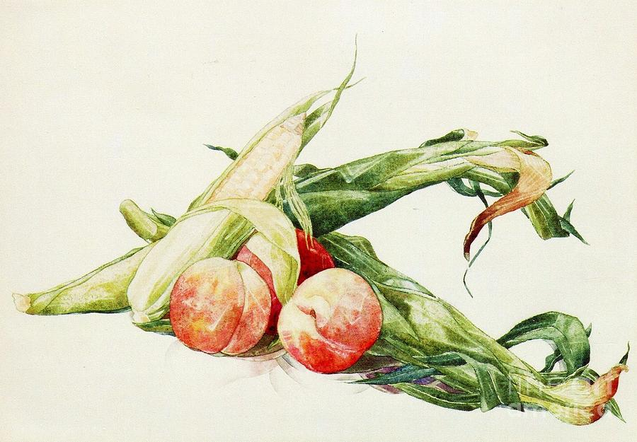 Pd Painting - Corn And Peaches by Pg Reproductions