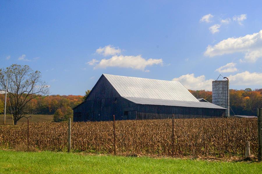 Corn Barn And Silo Photograph
