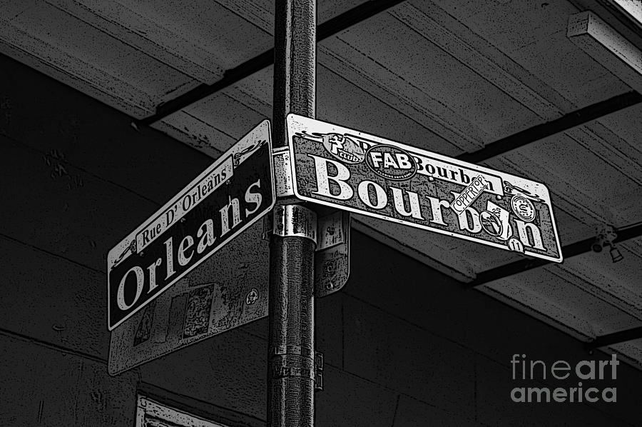 Big easy digital art corner bourbon and orleans sign french quarter new orleans black and