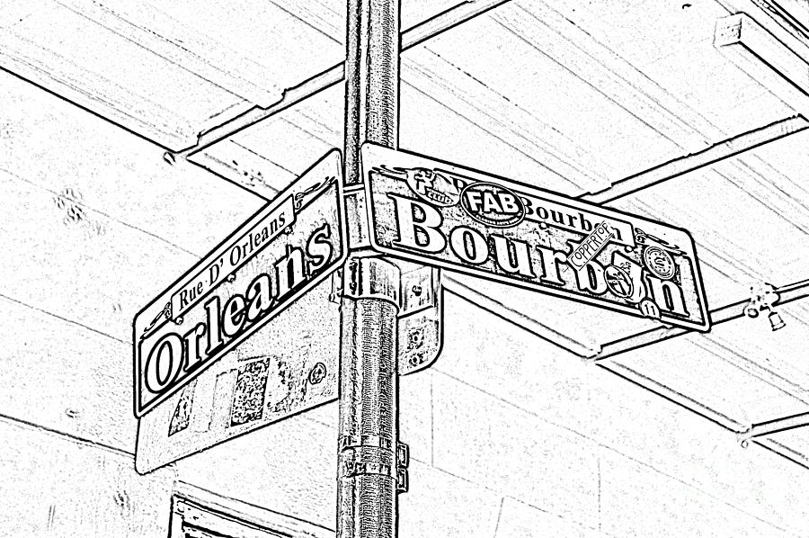 Big easy digital art corner of bourbon and orleans sign french quarter new orleans black