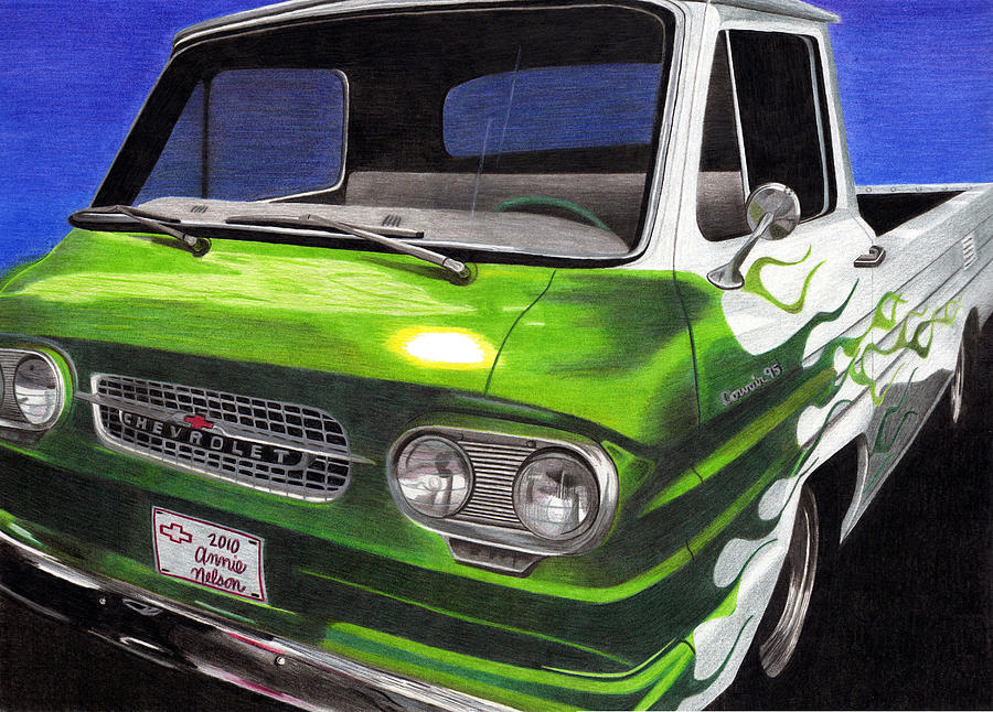 Chevy Drawing - Corvair 95 Loadside by Annie Nelson