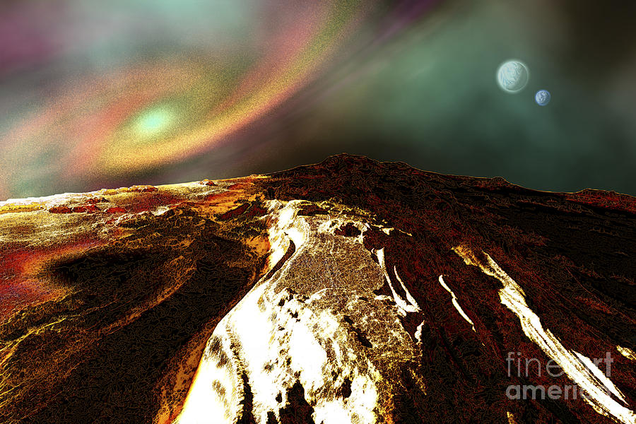 Outer Space Digital Art - Cosmic Landscape Of An Alien Planet by Corey Ford
