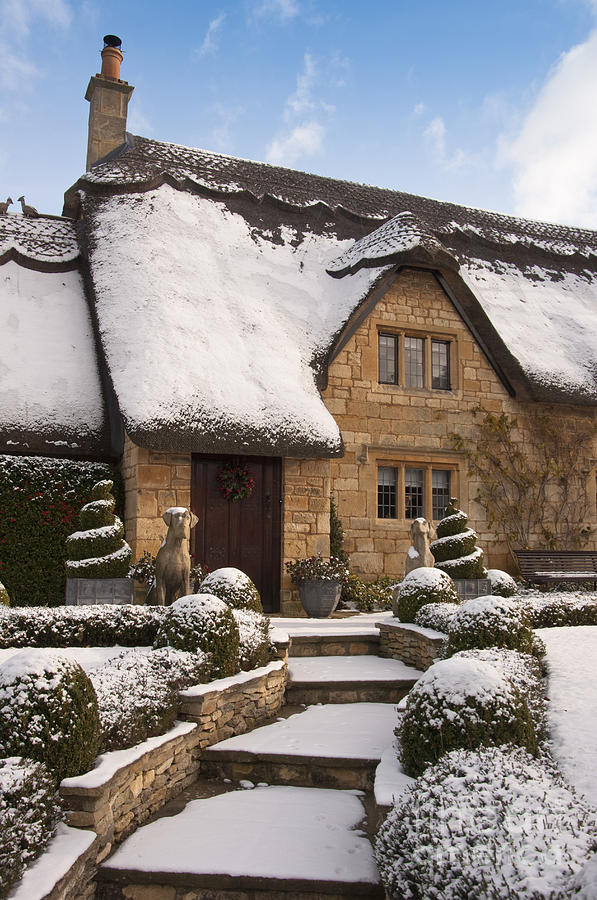 Cotswolds Cottage Covered In Snow Photograph By Andrew Michael