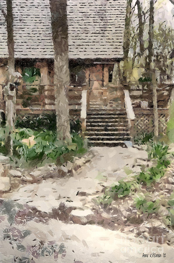 Black Painting - Cottage by Anne Kitzman