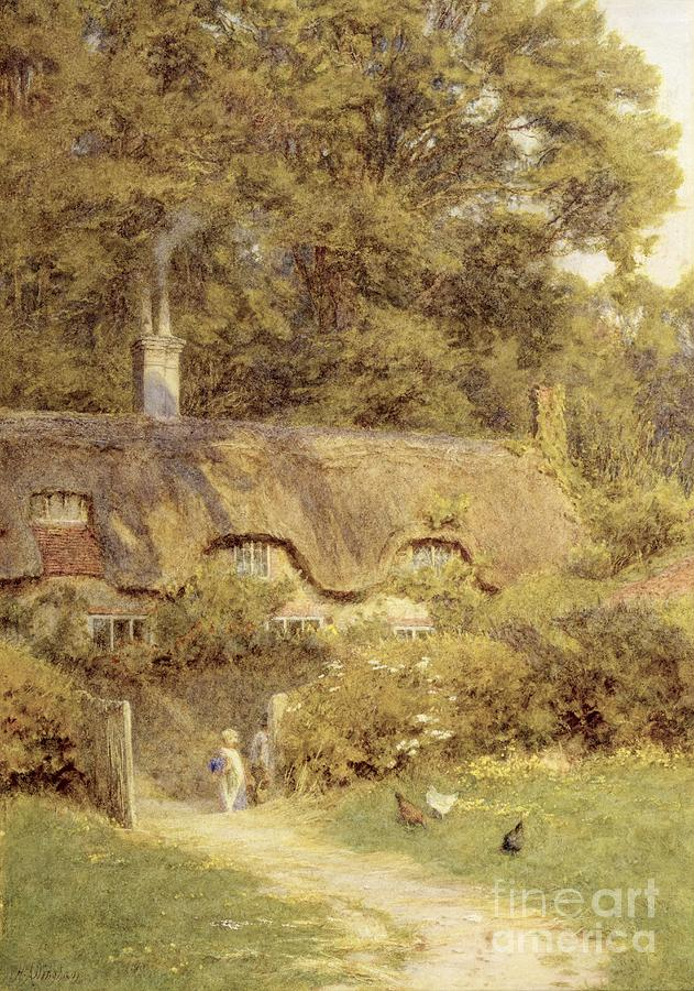 Birds Painting - Cottage At Farringford Isle Of Wight by Helen Allingham