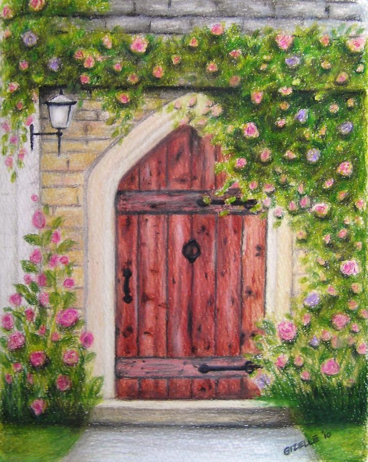 Door Drawing - Cottage Door by Gizelle Perez & Cottage Door Drawing by Gizelle Perez