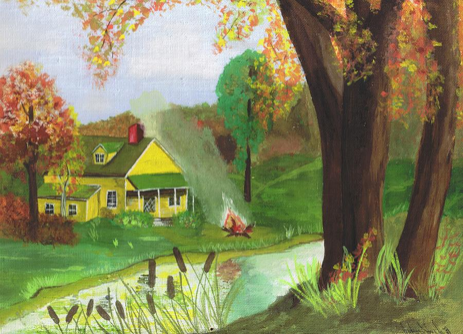 Cottage In The Woods Painting By Barbara Taboada
