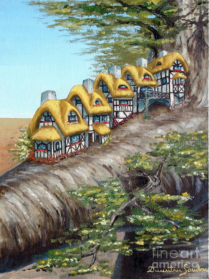 Idyllic Painting - Cottage Row From Arboregal by Dumitru Sandru