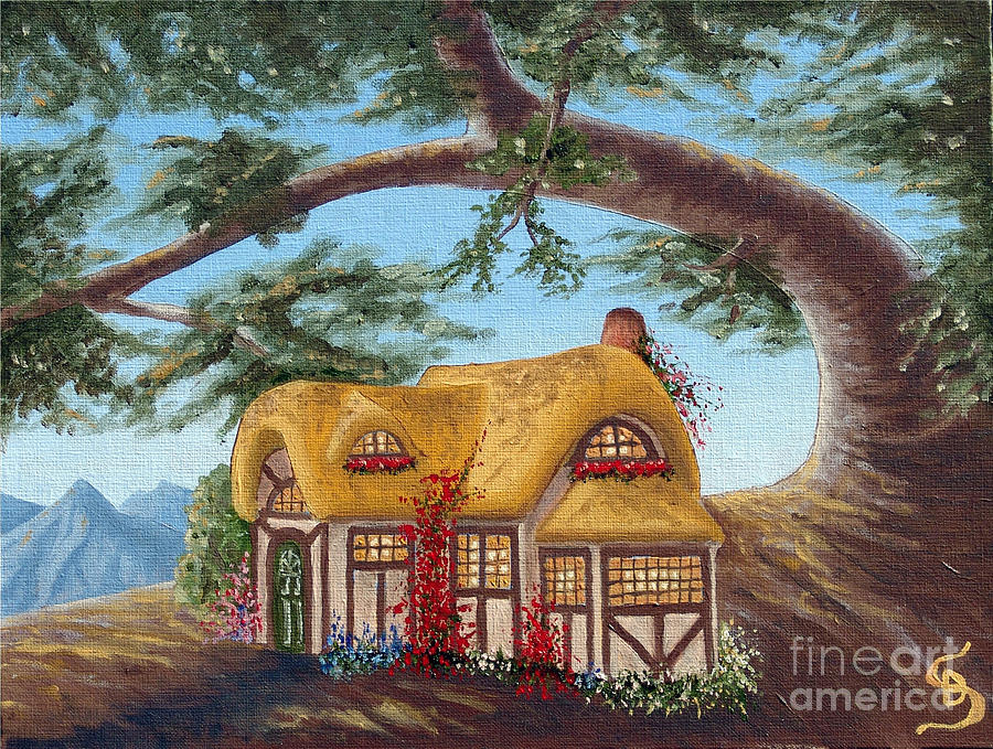 Idyllic Painting - Cottage Under A Branch From Arboregal by Dumitru Sandru
