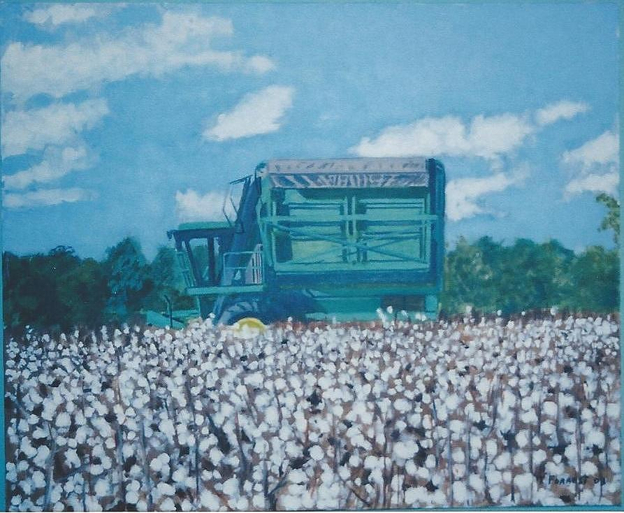 Cotton Picker And Cotton Field Painting by Terry Forrest