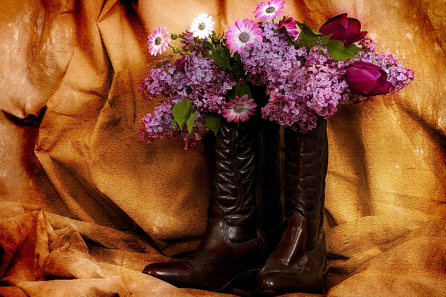 Flowers Photograph - Country Boots And Flowers by Trudy Wilkerson