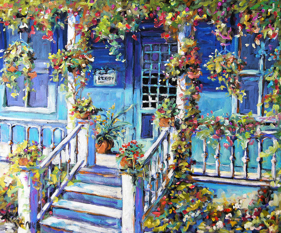 Country Porch And Flowers By Prankearts Painting By