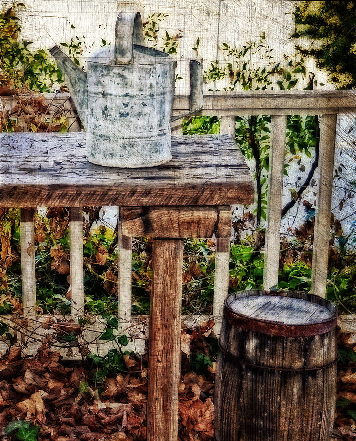 Watering Can Photograph - Country Porch by Kathy Jennings