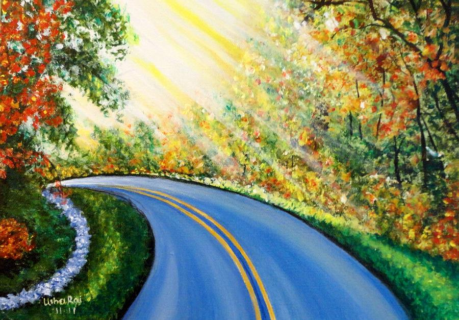 Landscape Painting - Country Road by Usha Rai