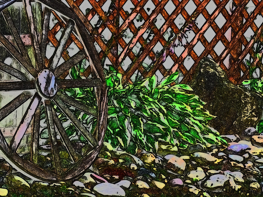 Spring Landscape Drawing - Country Wheel Working by Debra     Vatalaro