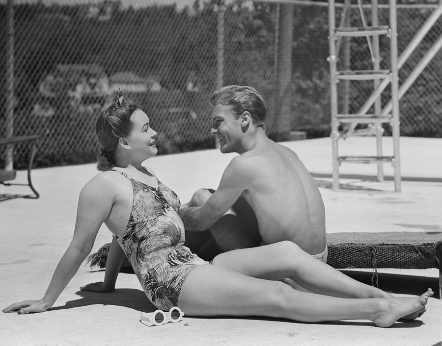Adult Photograph - Couple At Poolside by George Marks