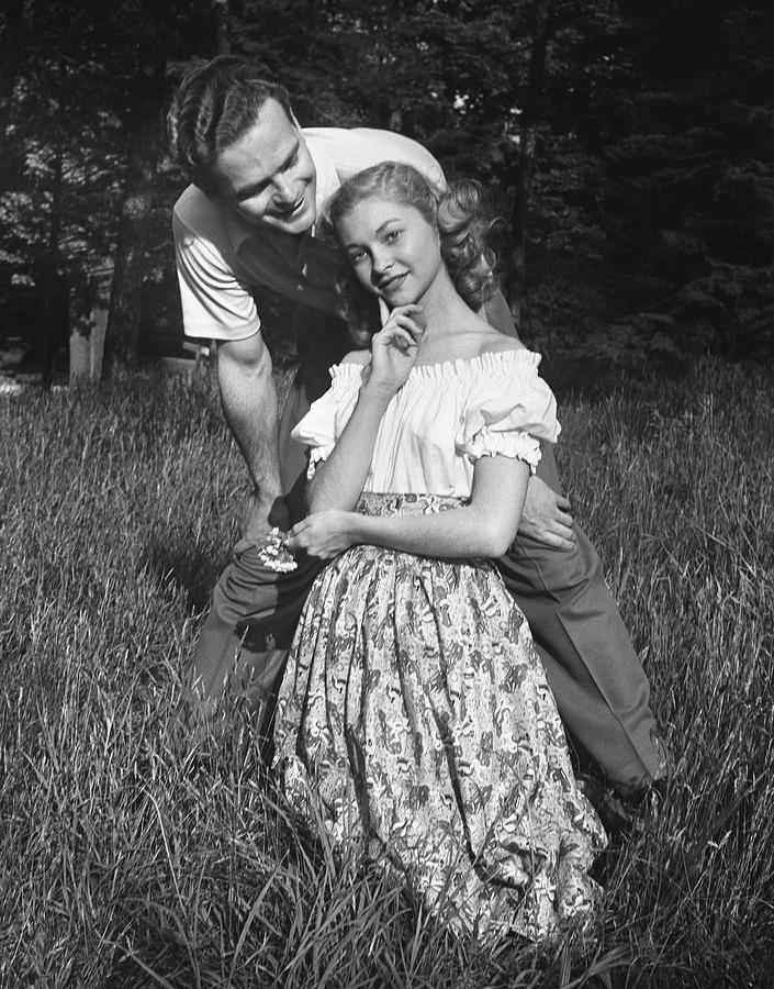 Adult Photograph - Couple In Countryside by George Marks