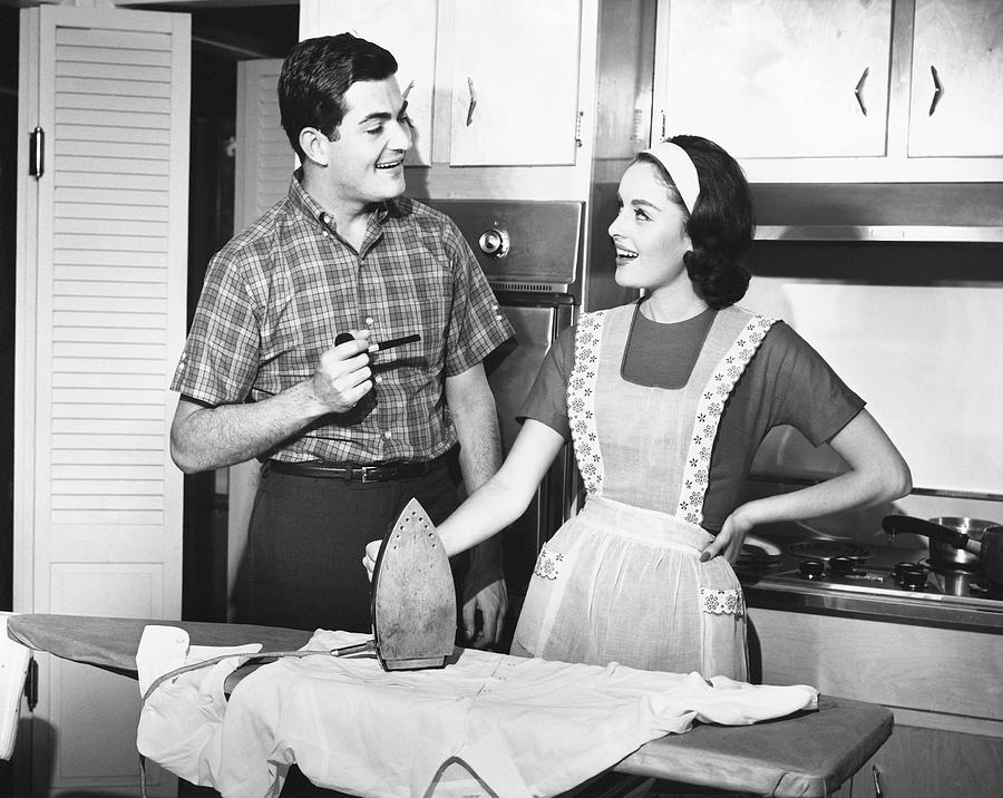 Adult Photograph - Couple Ironing by George Marks