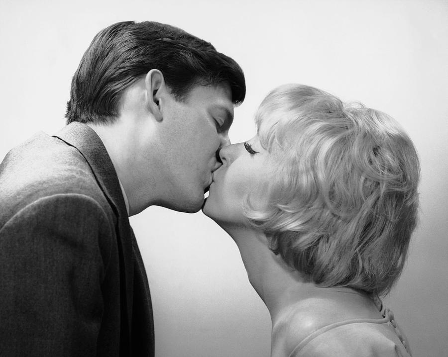 Adult Photograph - Couple Kissing by George Marks