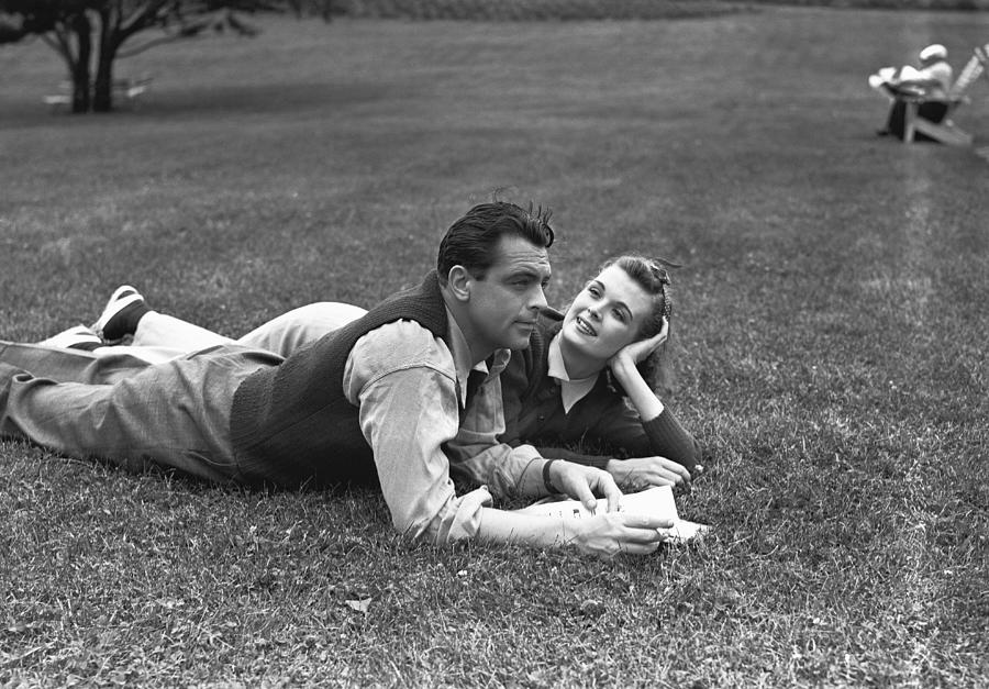 Adult Photograph - Couple Lying On Grass, (b&w) by George Marks