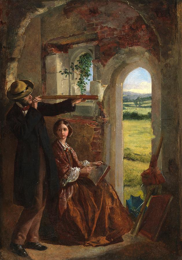 Doorway Painting - Couple Observing A Landscape by English School