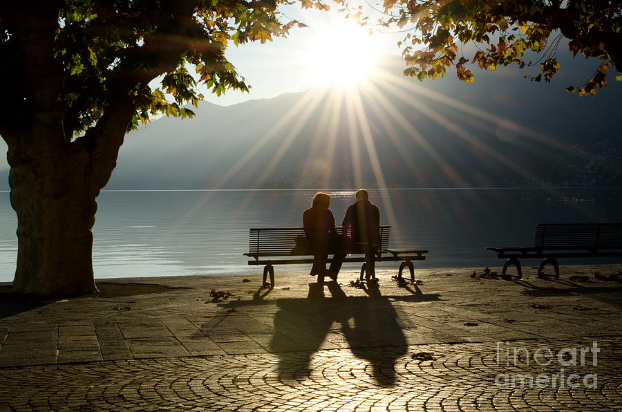 Couple On A Bench Photograph by Mats Silvan
