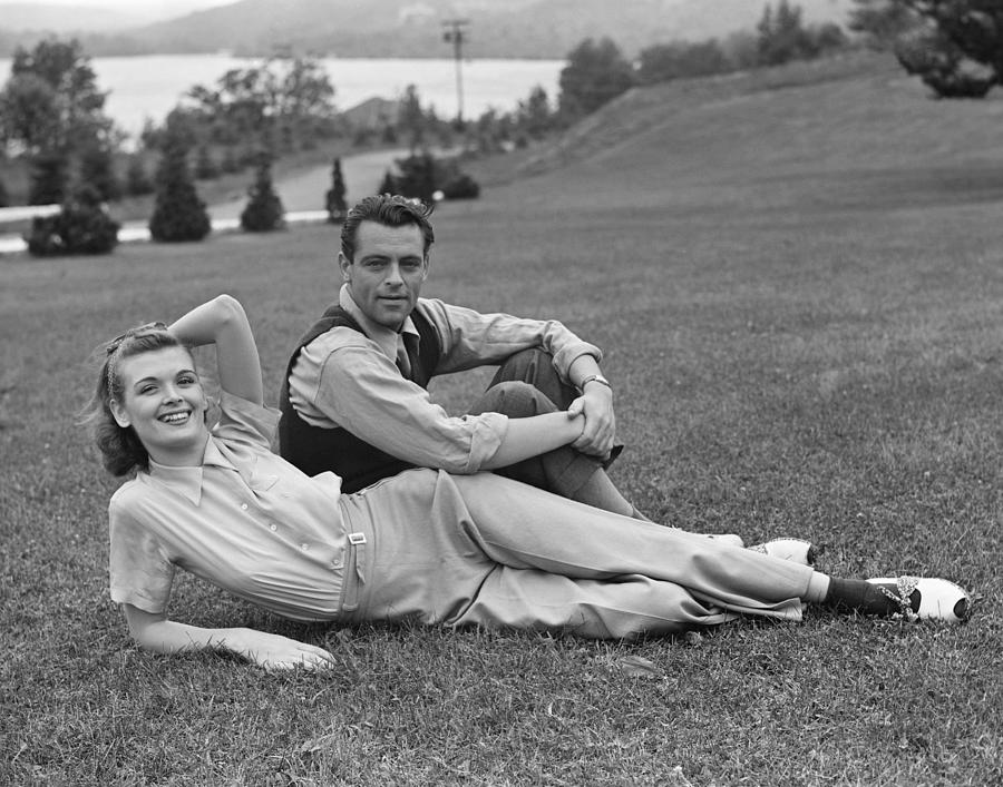 Adult Photograph - Couple On Lawn by George Marks