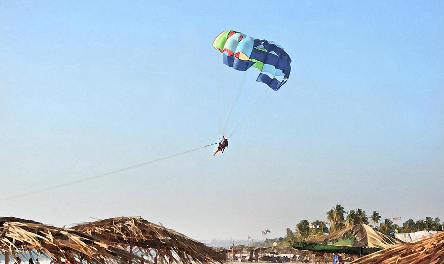 Vibrant Photograph - Couple Parasailing Over Shacks Goa by Kantilal Patel