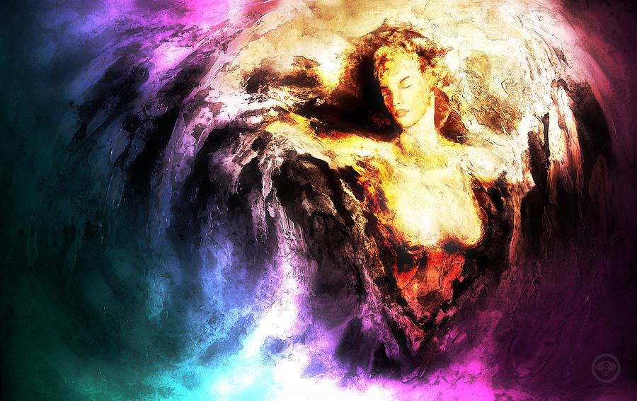 Angel Painting - Courage by Joe Cruz