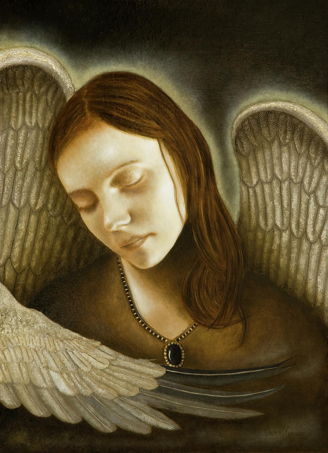 Angels Painting - Courage by Nanne Nyander