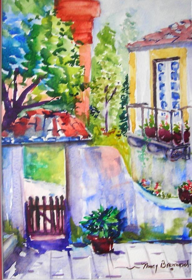 Garden Landscape Painting - Courtyard In Sintra by Nancy Brennand