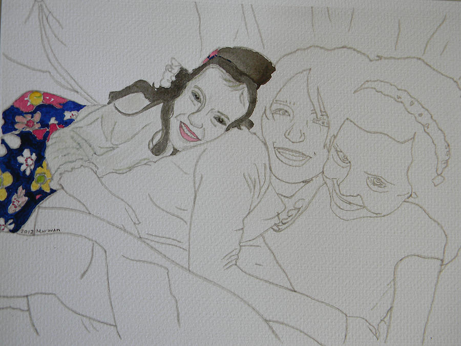 Girls Drawing - Cousins 3 Of 3 by Marwan George Khoury