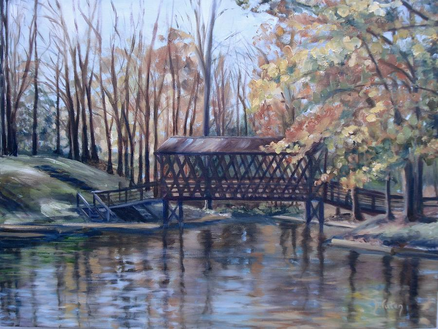 Landscape Painting - Covered Bridge At Lake Roaming Rock by Donna Tuten