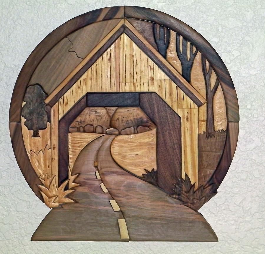 Intarsia Sculpture - Covered Bridge by Bill Fugerer