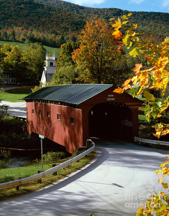 Arlington Photograph - Covered Bridge In Vermont by Rafael Macia and Photo Researchers