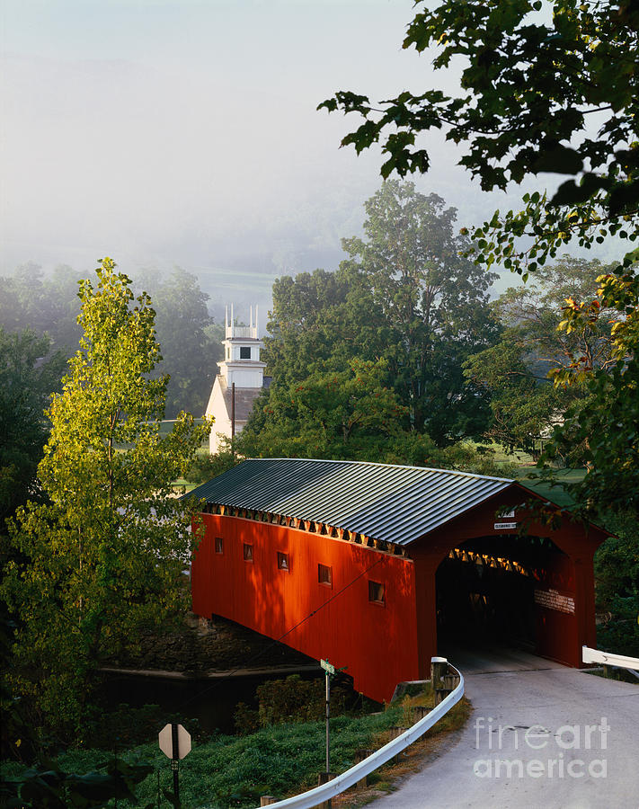 Arlington Photograph - Covered Bridge by Rafael Macia and Photo Researchers