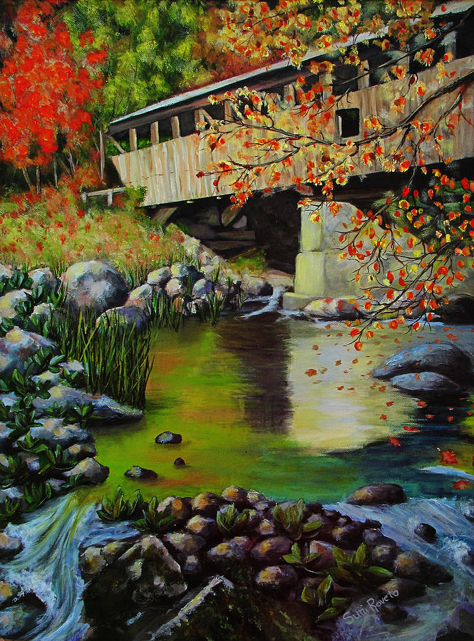 Acrylic Painting - Covered Bridge by Suni Roveto